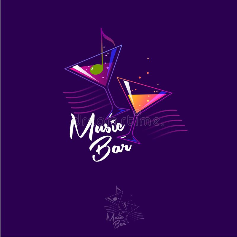 Music bar logo. Glasses with cocktails. Olive as a note on a dark background. Colored linear logo vector illustration