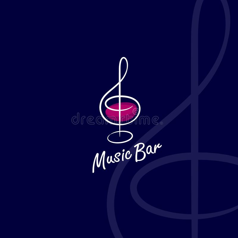 Music Bar logo. Treble clef as a glass with wine, isolated on a dark background. vector illustration