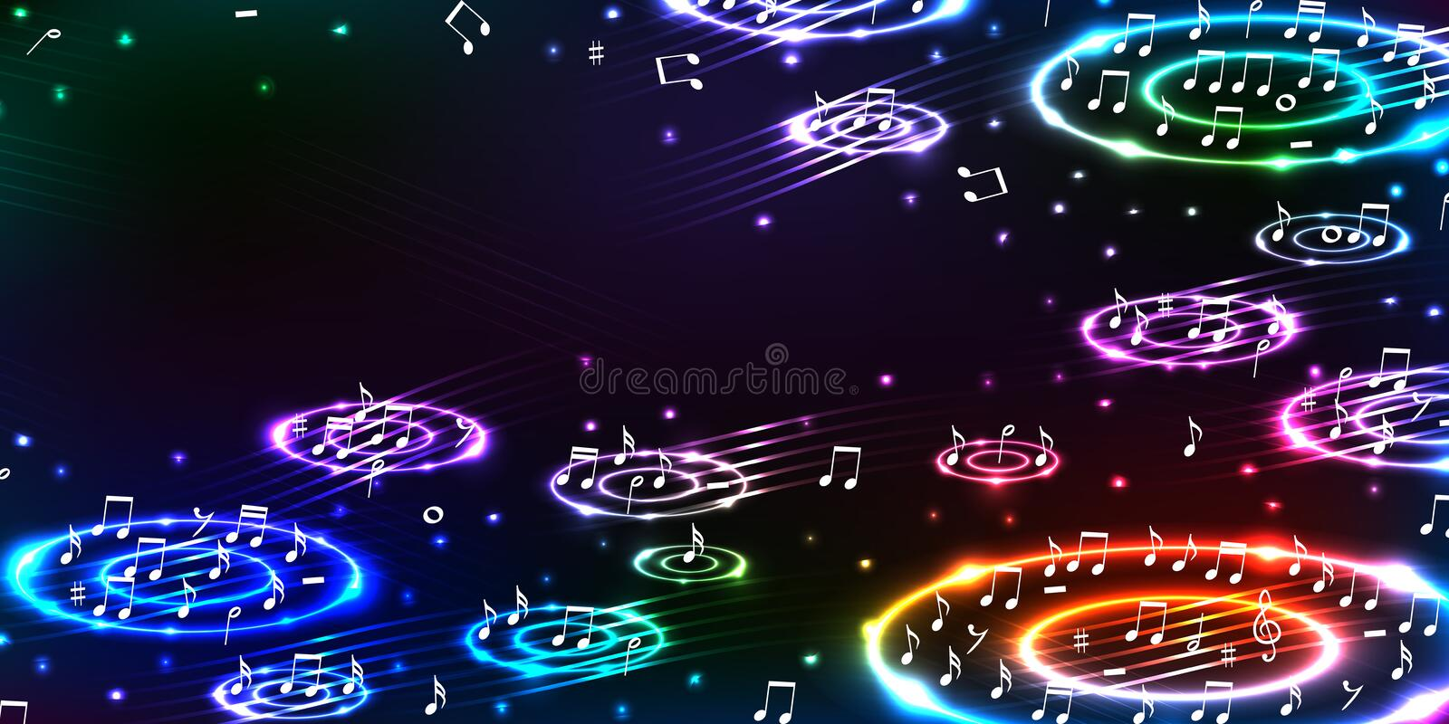 Music bass sound horizontal banner RGB stock illustration