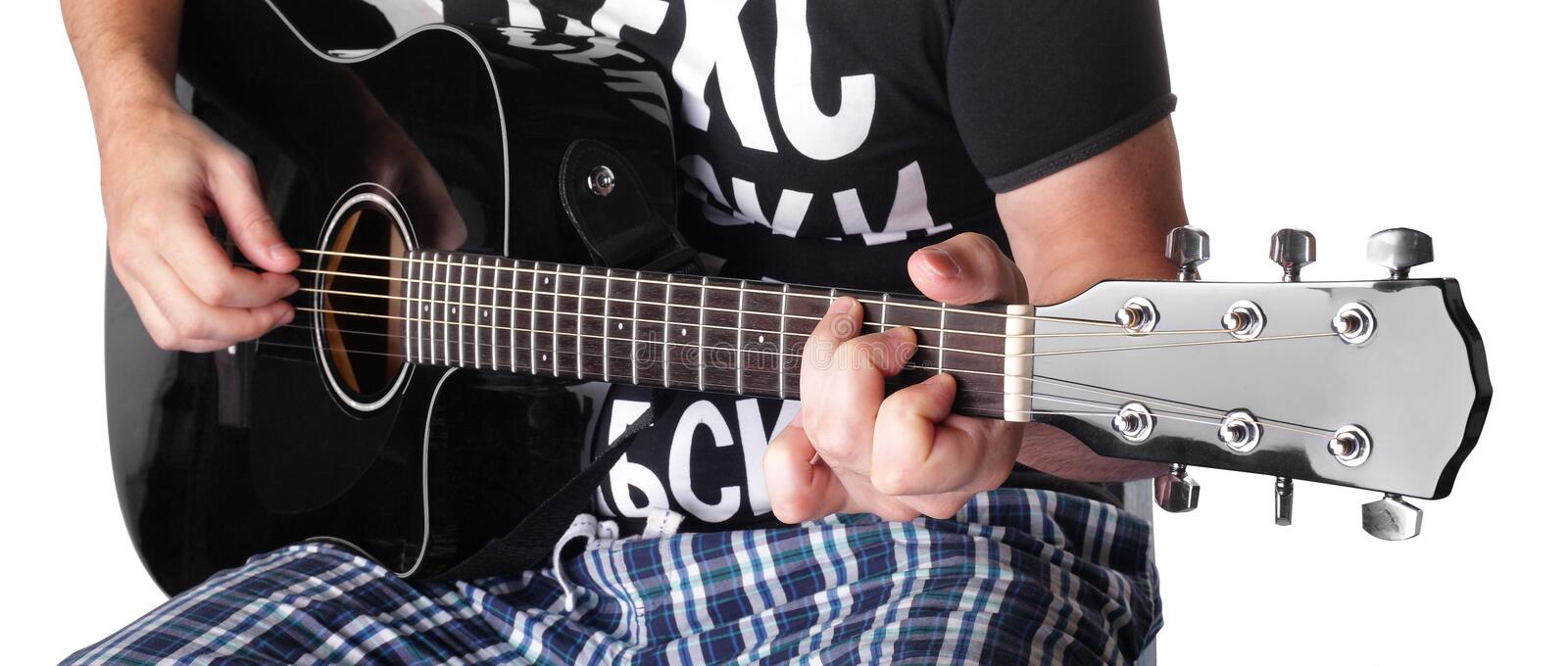 Music - black electric acoustic guitar player chord C isolated royalty free stock photography