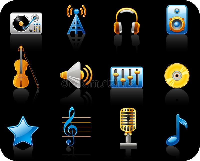 Download Music black icon set stock vector. Image of podcast, antenna - 15782256