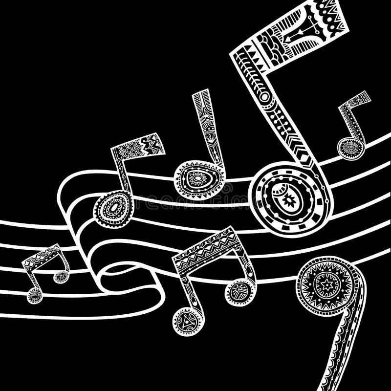 Music black and white background vector illustration