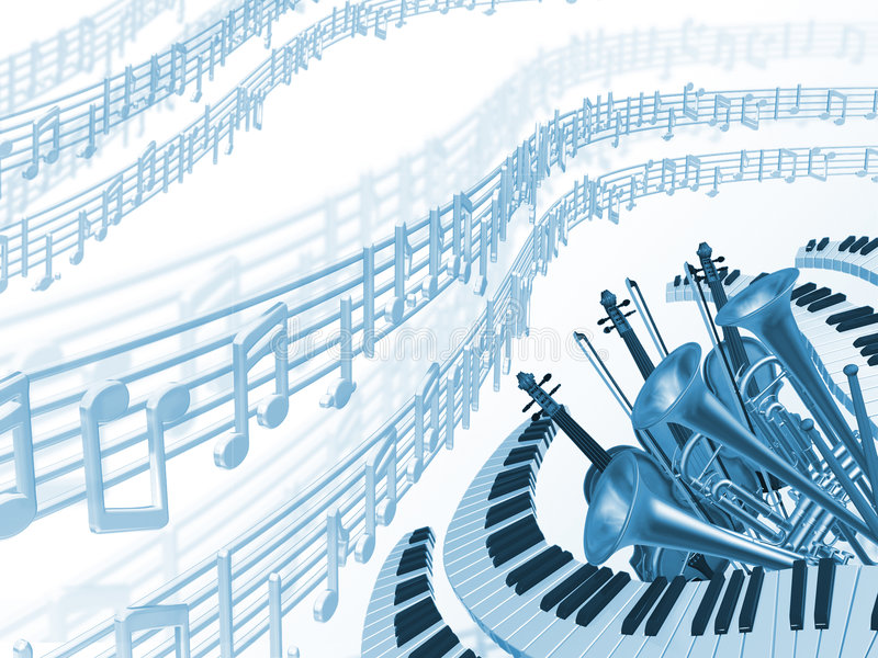 Music blue background stock illustration