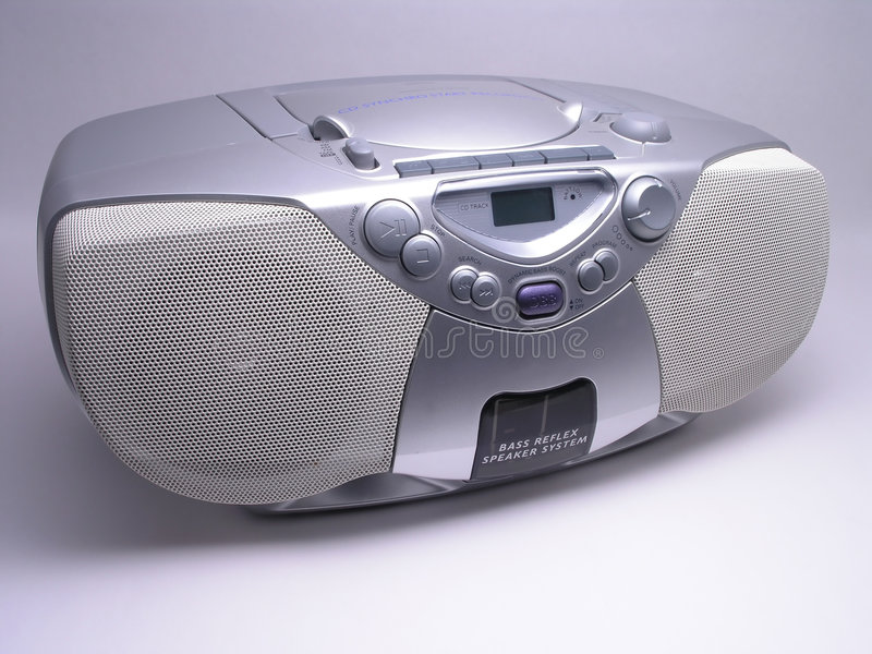 Music Boom Box - 1. Silver Portable Music Boom Box stock photos