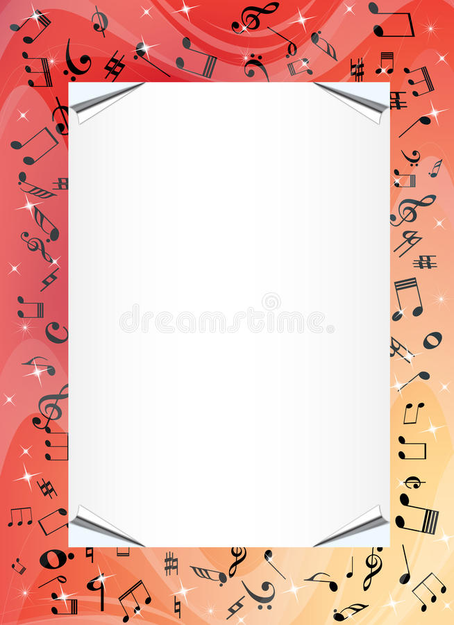 Music border. Border with music signs illustration