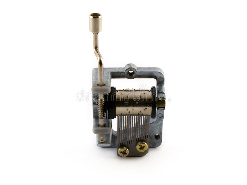 Music Box Mechanism on White Background stock photos