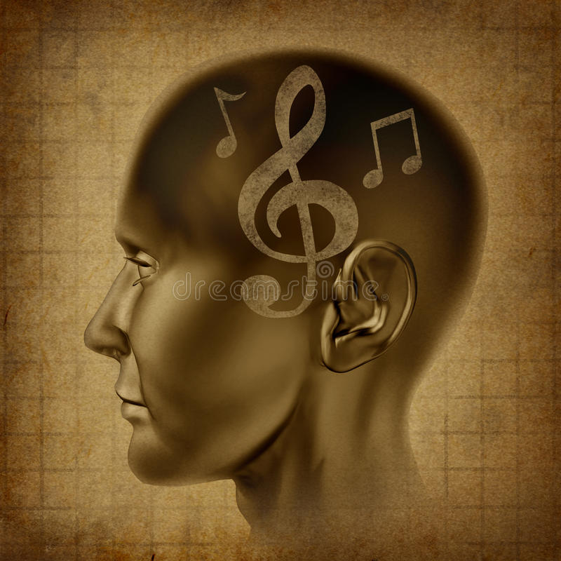 Music brain musical mind genius notes composer stock photography