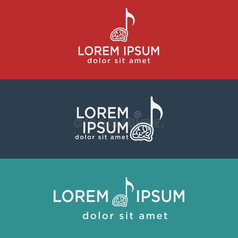 music brain symbol, creative logo template vector illustration stock illustration