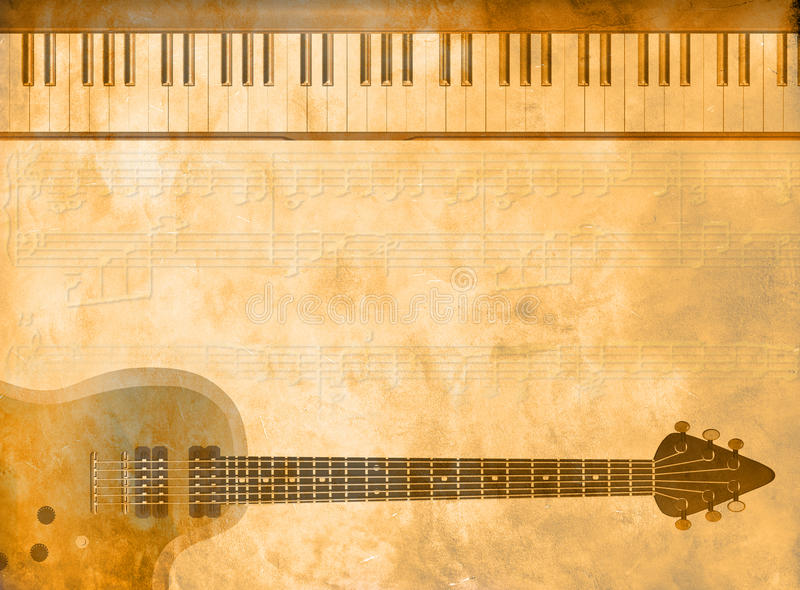 Music business card. A view of piano keys and an electric guitar on a grunge background with musical notes, that can be used as a musical business card for music stock illustration