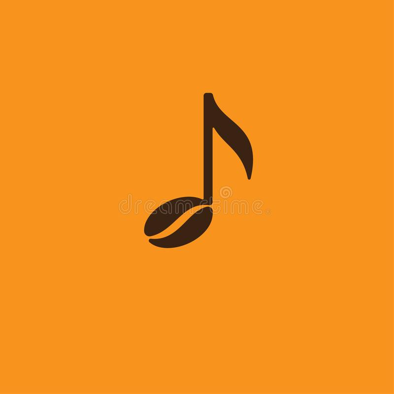 Music cafe icon. Note and coffee bean on an orange background. stock illustration