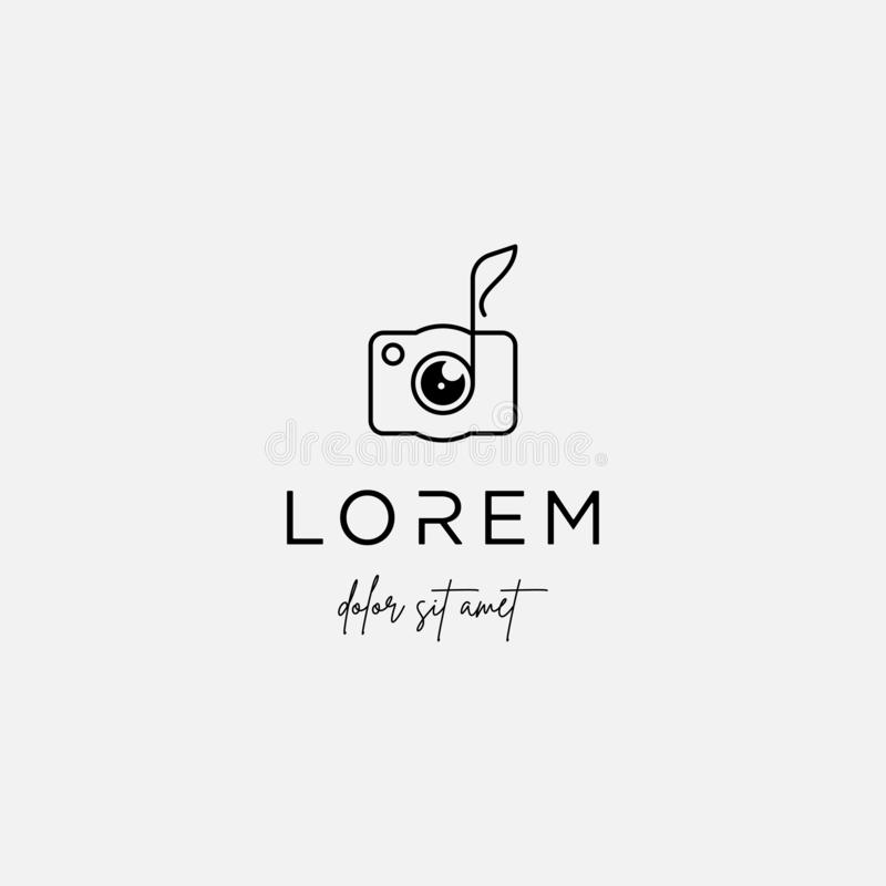 Music Camera Logo Template Vector Sign Design. Music Camera Logo Template Vector Design, shutter, photography, line, simple, lens, guitar, melody, note, sound vector illustration