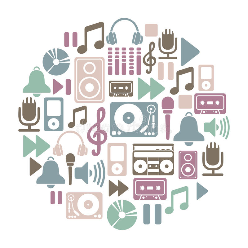 Download Music card stock vector. Image of player, listening, equipment - 28644152