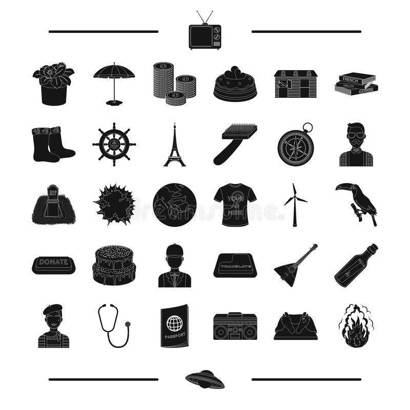Music center, fire, phonendoscope and other web icon in black style. passport, French, Paris, appearance icons in set stock illustration