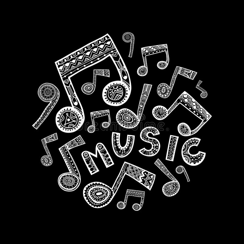 Music circle - black and white stock illustration