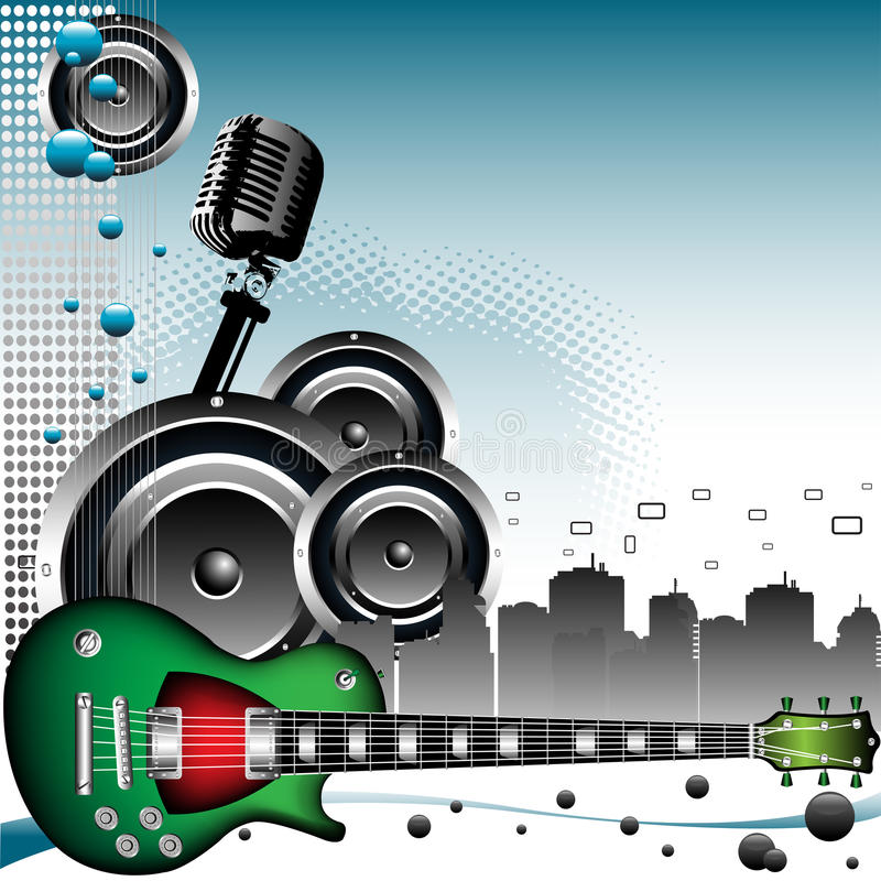 Download Music in the city stock vector. Image of loudspeakers - 15760040