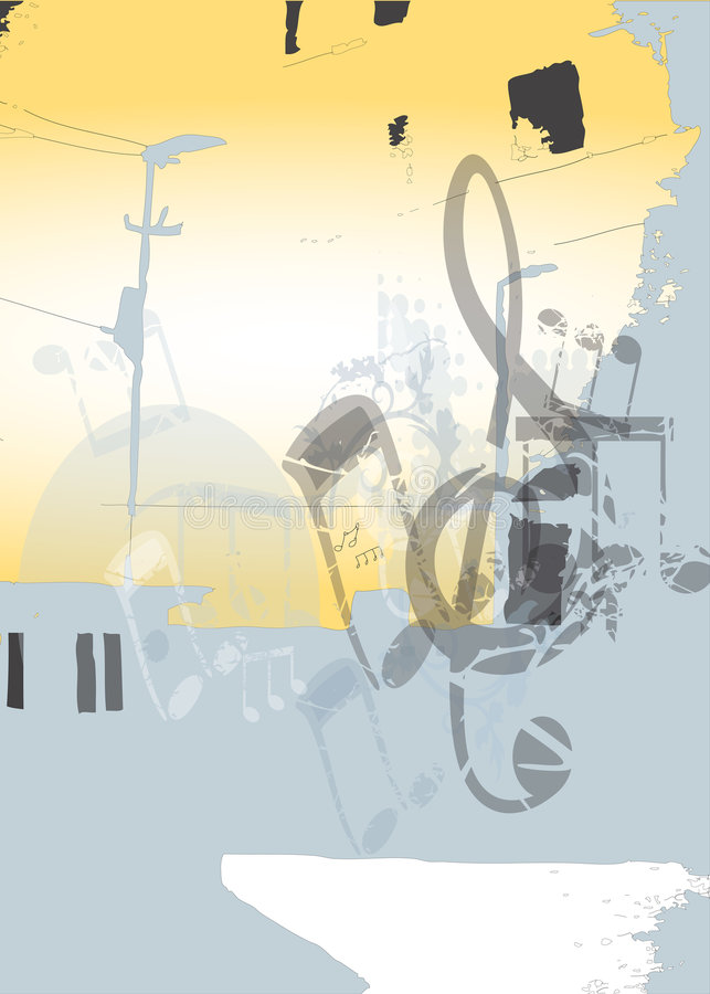 Music in the city. Distorted music notes over a city grunge background in light colours. Fully scalable vector illustration