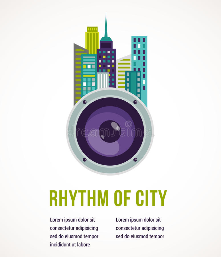 Music city - amplifier and buildings vector illustration