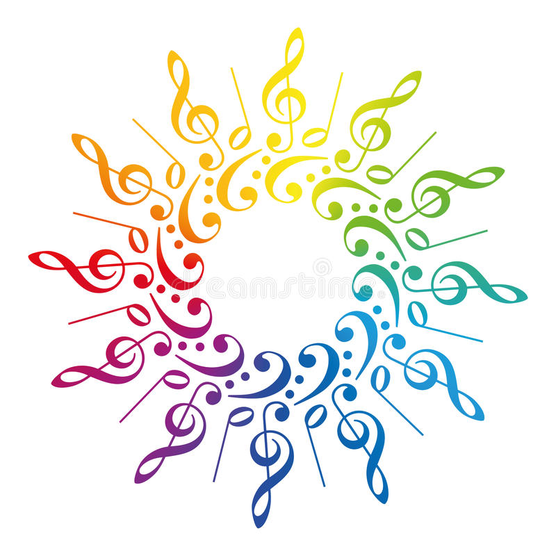 Free Music Clefs Radial Rainbow Pattern Stock Image - 52570461