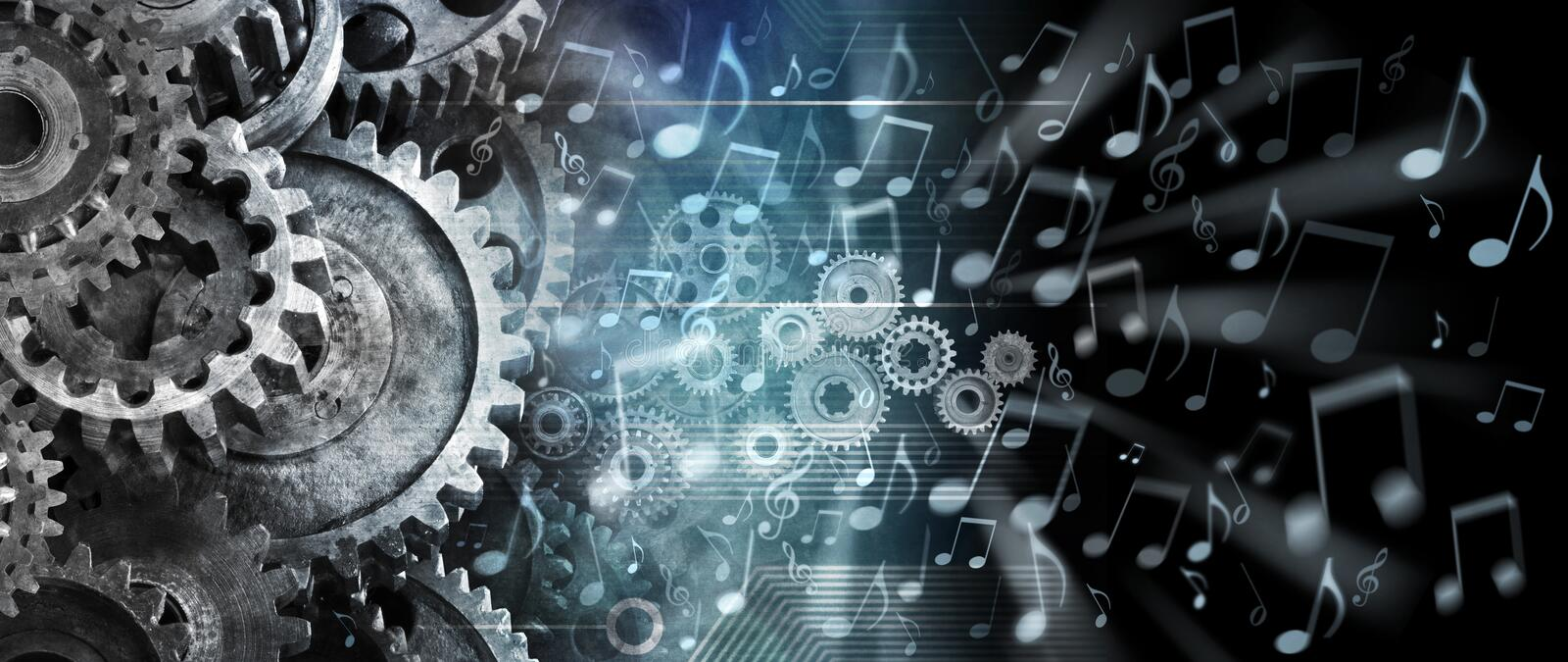 Music Streaming Cogs Technology Background. A conceptual image about music and technology streaming