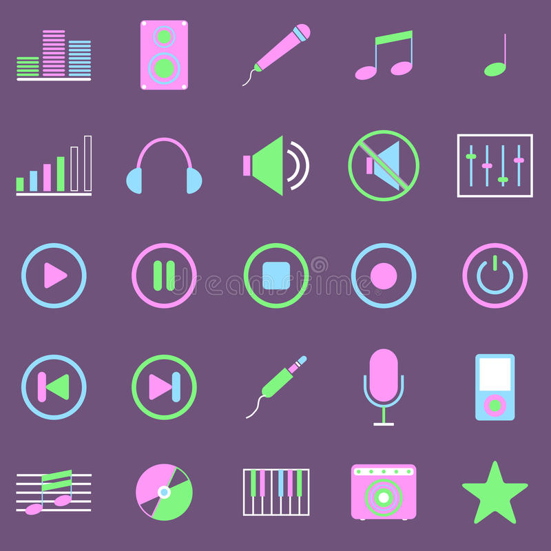 Music Color Icons On Violet Background Royalty Free Stock Image