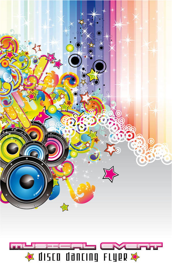 Music Colorful Background for Flyers. Colorful Abstract Disco Dancing Background for Flyers royalty free illustration
