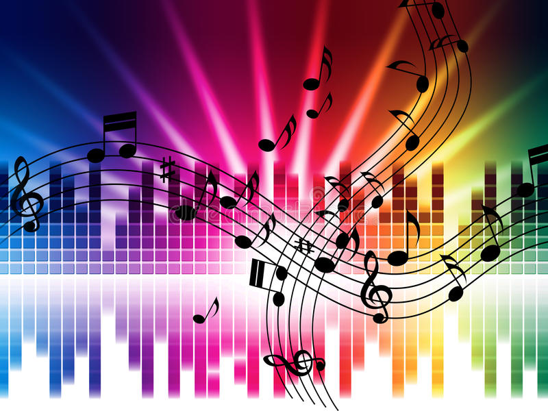 Music Colors Background Means Singing Playing Or Disco. Music Colors Background Meaning Singing Playing Or Disco stock illustration
