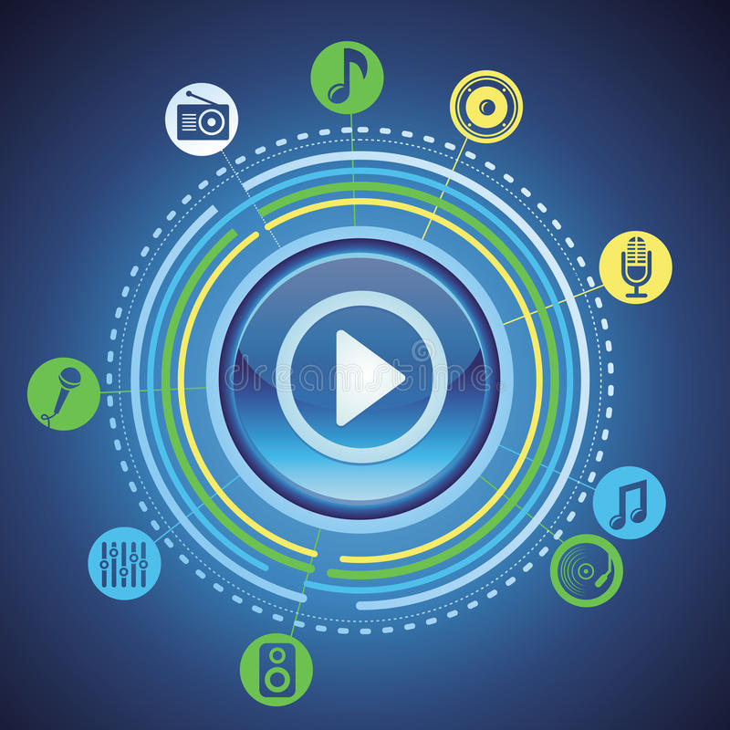 Music concept with bright play button and icons royalty free illustration