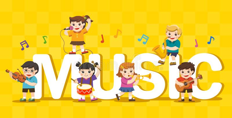 Music concept of children group. Kids playing musical instruments around big Music Text stock illustration