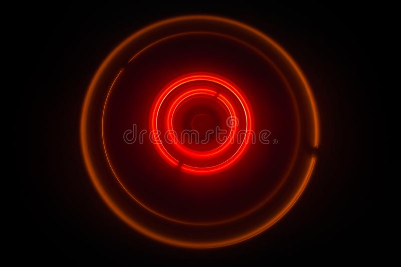 Music concept. Freezelight glowing vinyl on dark background or Turntable playing vinyl with glowing abstract lines concept on dark. Background. For Club poster royalty free stock image