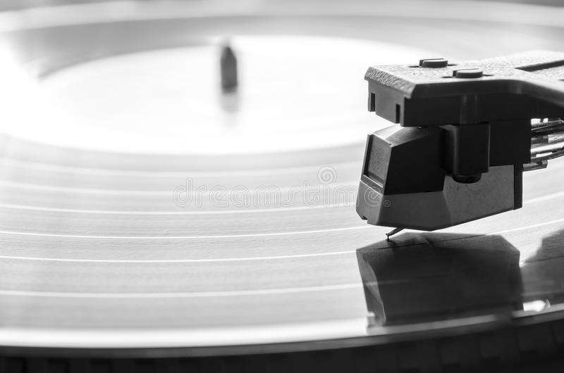 Music concept. Needle over vintage record player. Music concept royalty free stock images