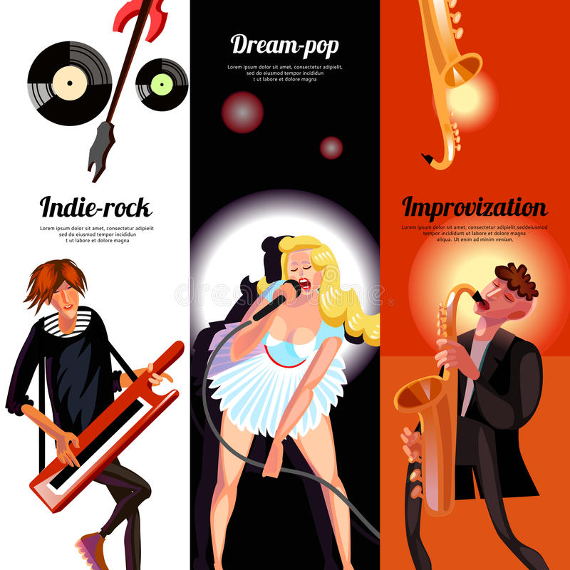Music Concept Vertical Banners. Indie rock dream pop and improvisation vertical bookmarks like banners drawn in cartoon style vector illustration vector illustration