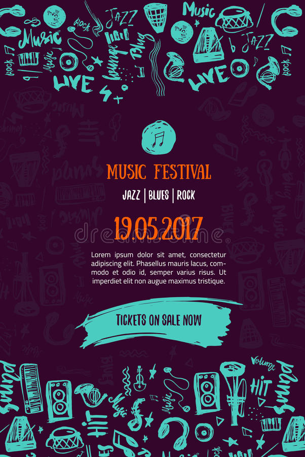 Music Concert Background Festival Modern Flyer Vector Illustration