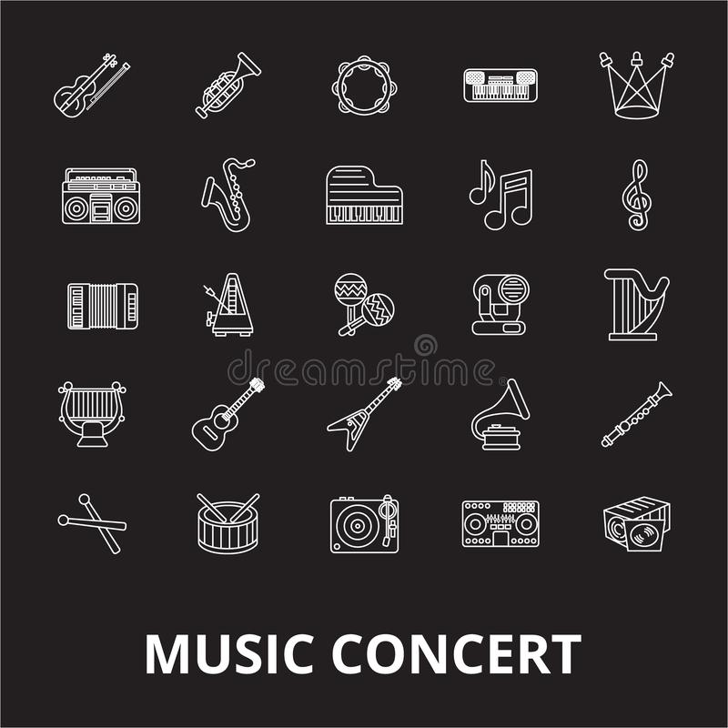 Music concert editable line icons vector set on black background. Music concert white outline illustrations, signs stock illustration