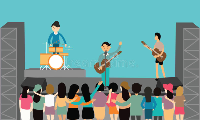 Music concert performance flat vector fun playing instrument young. Drawing royalty free illustration