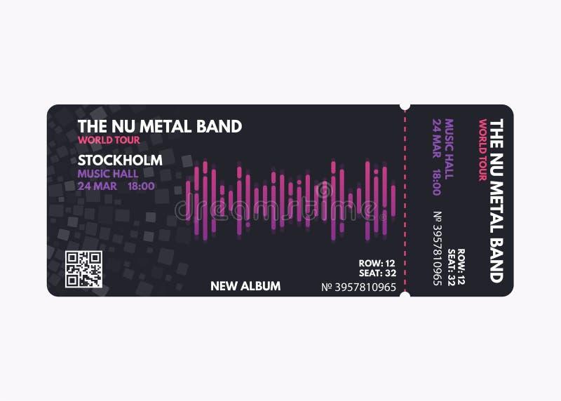 Music concert ticket royalty free illustration