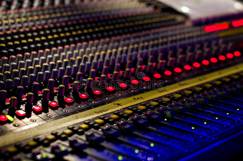 Music Console, close up shot at music concert stock photography