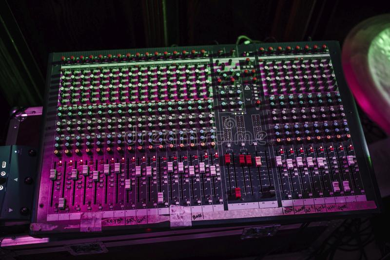 The music console of the sound engineer. The panel of the sound producer in the recording studio stock photos