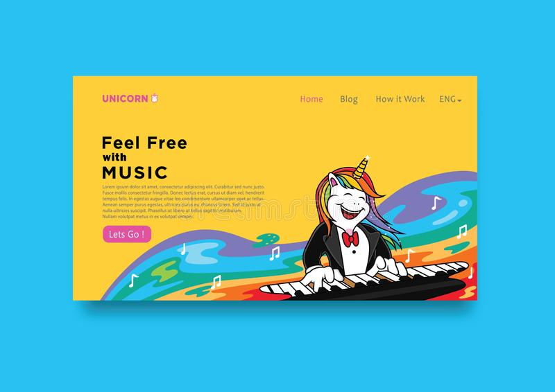 Music cover template with unicorn cartoon. Party drawn modern happy birthday kids magic background drawing heart fantasy illustration print love sticker star vector illustration