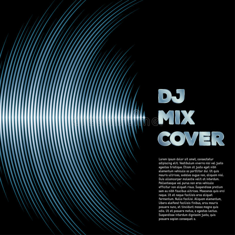 Music cover with waveform as a vinyl grooves. DJ mix cover with music waveform as a vinyl grooves royalty free illustration
