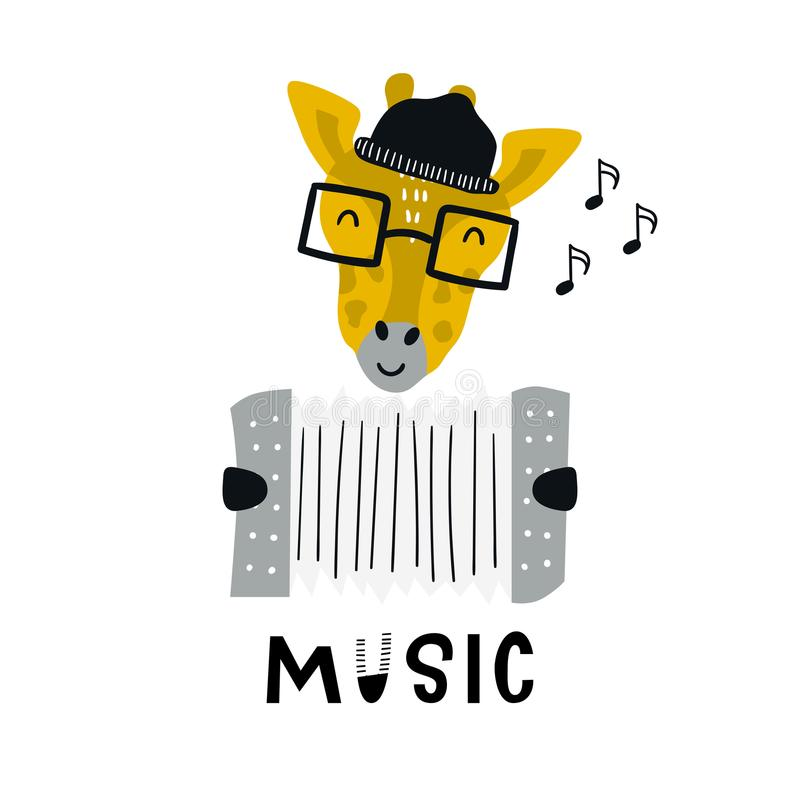 Music - Cute hand drawn nursery poster with cartoon giraffe animal character with accordion and lettering. Vector illustration in scandinavian style vector illustration