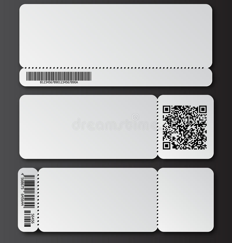 White Ticket Template With Tearoff Element Barcode And QR Code