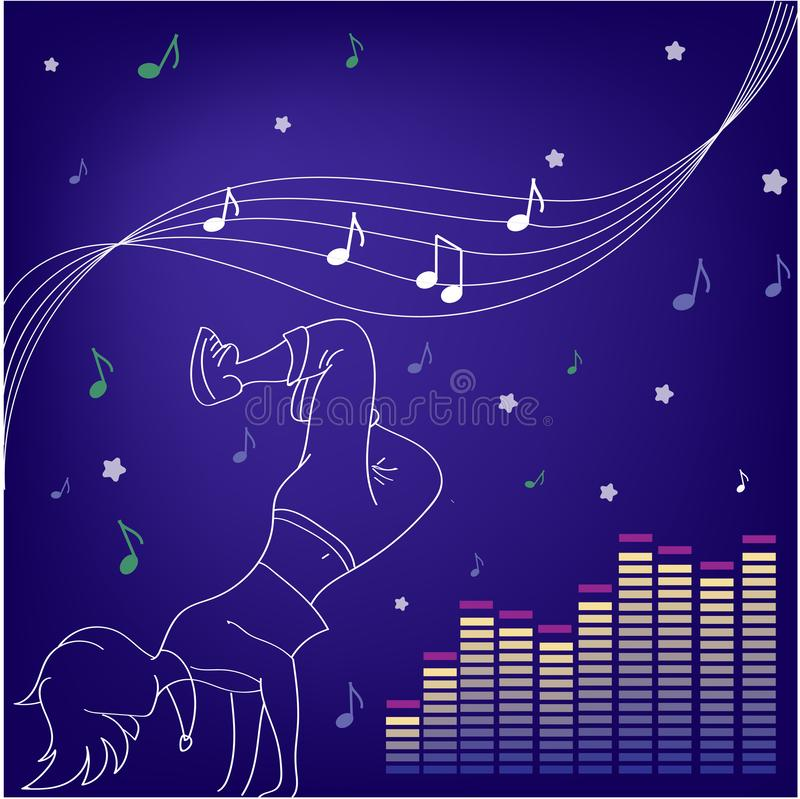 Music and dances. Silhouettes of people dancing royalty free illustration