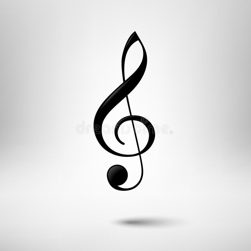 Treble clef vector icon. Music design element. Music design element. Treble clef vector icon vector illustration