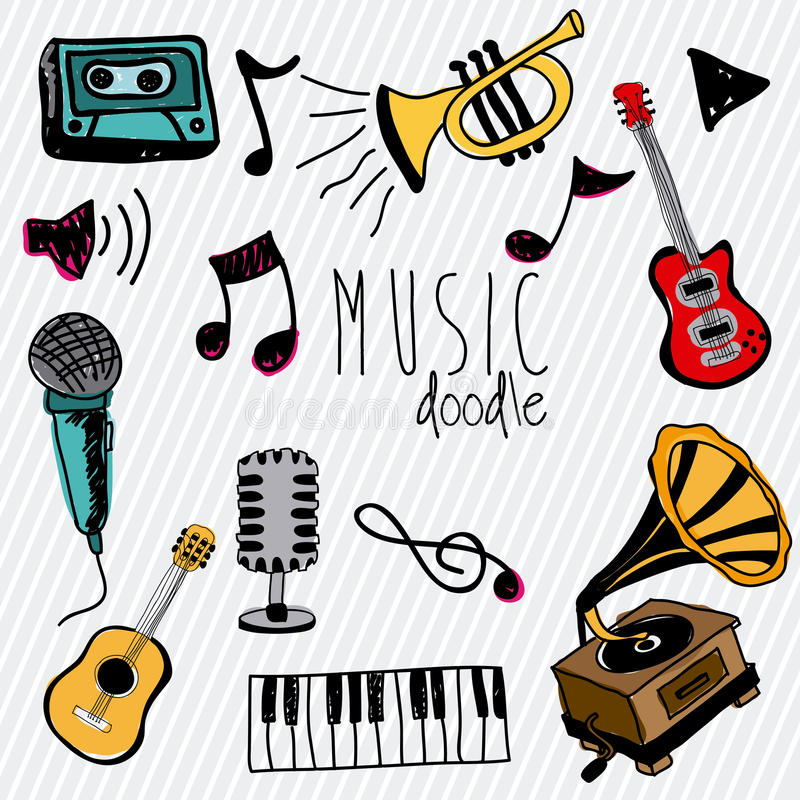 Music doddle vector illustration