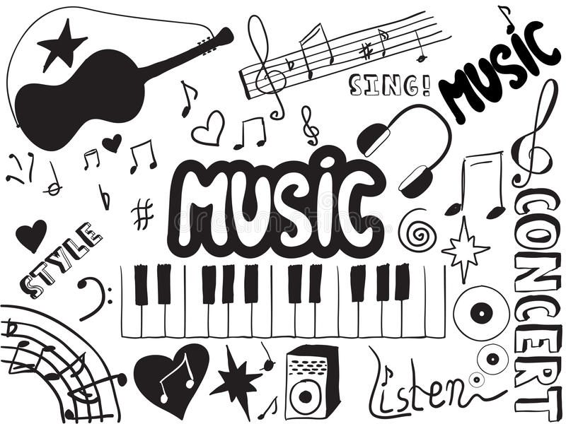 Music doodles vector illustration