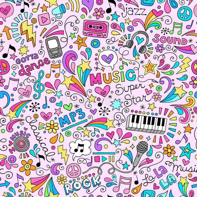 Music Doodles Groovy Seamless Pattern Background royalty free illustration