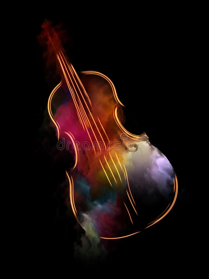 The Escape of Violin. Music Dream series. Abstract background made of violin and abstract colorful paint for use with projects on musical instruments, melody stock illustration