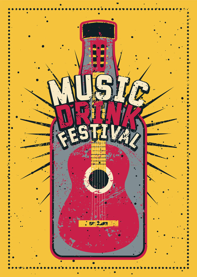 Music and Drink Festival typographic grunge poster design with guitar and bottle. Retro vector illustration. Music and Drink Festival typographic grunge poster vector illustration