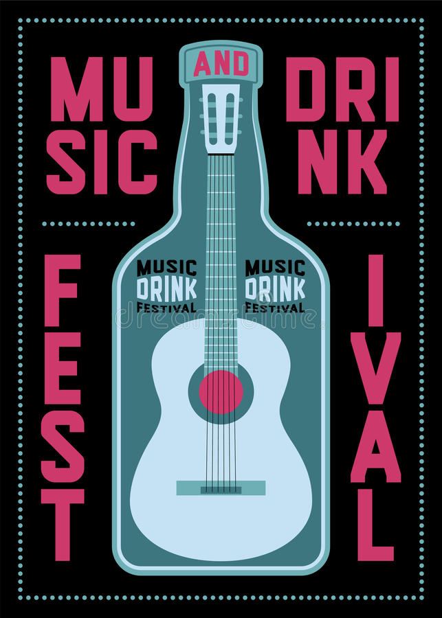 Music and Drink Festival typographic poster design with guitar and bottle. Retro vector illustration. Music and Drink Festival typographic poster design with stock illustration