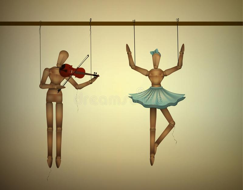 Music duet concept, merionettes couple one dancing and one playing violine,. Vector vector illustration